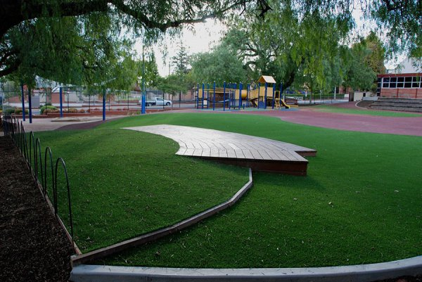 school play area with fake turf