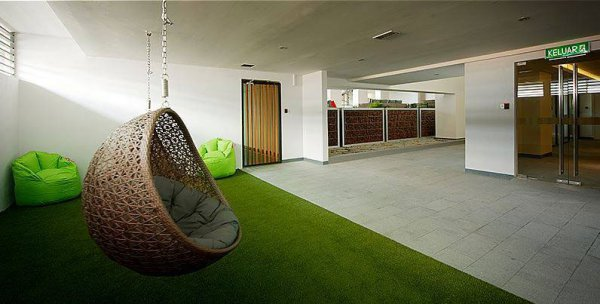 public area with artificial grass
