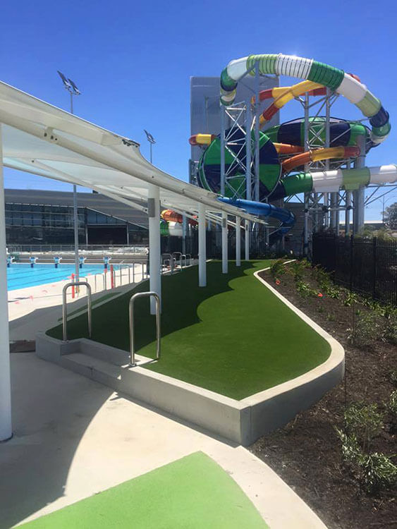 water park with synthetic grass