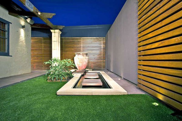 Courtyard with artificial grass
