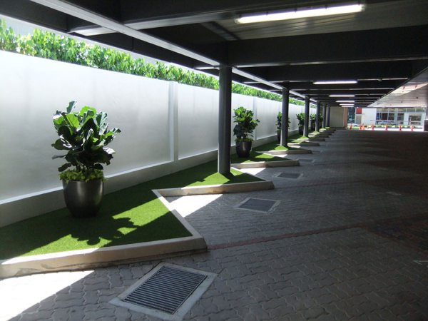 car park with artificial grass