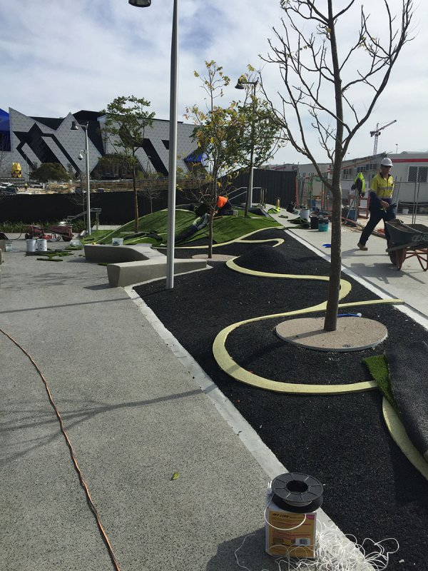 installation of artificial grass landscape