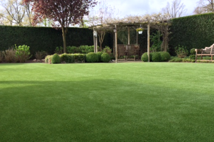 A beautiful lawn with synthetic grass