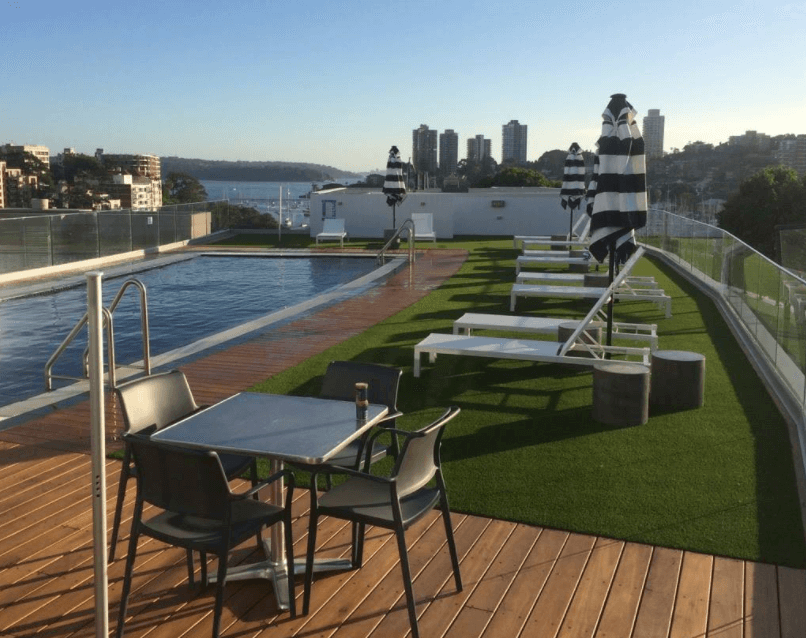 Artificial grass on rooftop